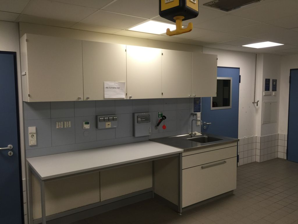 Waldner MC6 Laboratory Bench with Sink, Wall Cupboards, etc